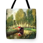 Barge On A River Normandy Tote Bag