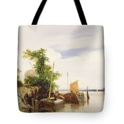 Barges On A River Tote Bag by Richard Parkes Bonington