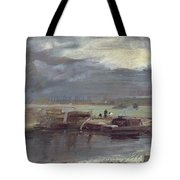 Barges On The Stour With Dedham Church In The Distance Tote Bag