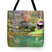 Barn And Pond In The Fall Tote Bag