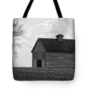 Barn And Tree In Black And White Tote Bag
