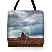 Barn In Lightning Storm Tote Bag