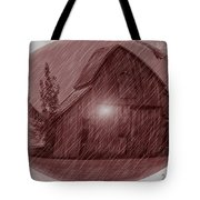 Barn Snow Globe Tote Bag