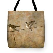 Barn Swallows On Barbed Wire Fence Tote Bag