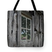 Barn Window Reflection Tote Bag