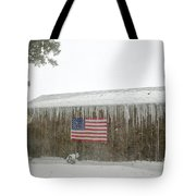 Barn With American Flag During Blizzard Of '05 On Cape Cod Tote Bag