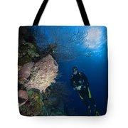 Barrel Sponge And Diver, Belize Tote Bag