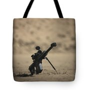 Barrett M82a1 Rifle Sits Ready Tote Bag