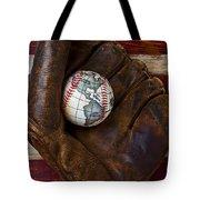 Baseball Mitt With Earth Baseball Tote Bag by Garry Gay