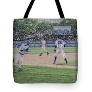 Baseball Runner Heading Home Digital Art Tote Bag