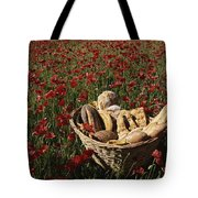 Basket Of Bread In A Poppy Field Tote Bag