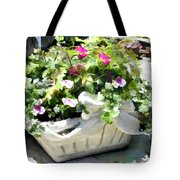 Basket Of Ivy And Flowers In The Sunshine Tote Bag