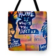 Basquait And Worhol Tote Bag
