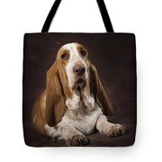 Basset Hound On A Brown Muslin Backdrop Tote Bag