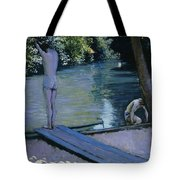 Bather About To Plunge Into The River Yerres Tote Bag