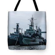 Battleship At Tower Bridge Tote Bag