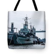 Battleships And Tugboat Tote Bag