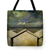 Beach Huts Under A Stormy Sky. Vintage-look. Normandy. France Tote Bag