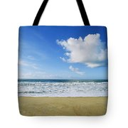 Beach, Ocean, Sky, And Clouds Tote Bag