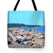 Beach Of Logs Tote Bag