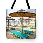 Beach Umbrellas On Sandy Seashore Tote Bag by Elena Elisseeva