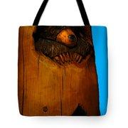 Bear In Log Tote Bag
