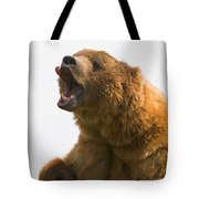 Bear With Tongue Out Of Mouth Tote Bag by Carson Ganci