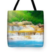 Beautiful Cascade Fall In Tropical Forest Tote Bag