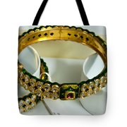 Beautiful Green And Purple Covered Gold Bangles With Semi-precious Stones Inlaid Tote Bag