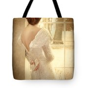 Beautiful Lady In Sequin Gown Looking Out Window Tote Bag