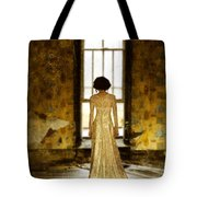 Beautiful Woman In Lace Gown In Abandoned Room Tote Bag
