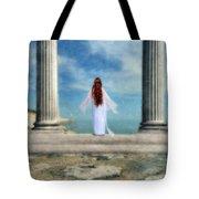 Beautiful Woman In White Tote Bag