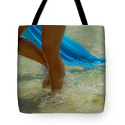 Beautiful Woman Legs In The Crystal Water Tote Bag