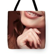 Beautiful Young Smiling Woman Mouth Tote Bag
