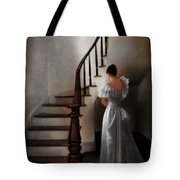 Beautiful Young Woman Standing In Gown By Stairs Tote Bag