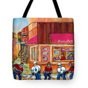 Beauty's Restaurant-montreal Street Scene Painting-hockey Game-hockeyart Tote Bag