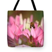 Bee In Flight Over Cleome Flower Tote Bag