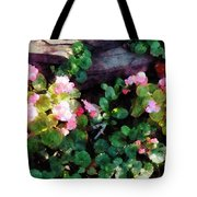 Begonias By Stone Wall Tote Bag