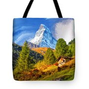 Below The Matterhorn Tote Bag