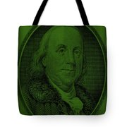 Ben Franklin In Dark Green Tote Bag