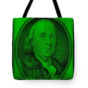 Ben Franklin In Green Tote Bag