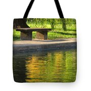 Bench And Reflections In Tower Grove Park Tote Bag