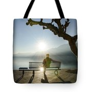 Bench And Sunset Tote Bag