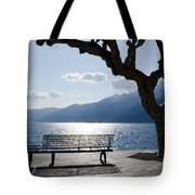 Bench And Tree On An Alpine Lake Tote Bag