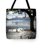 Bench And Tree On The Lakefront Tote Bag