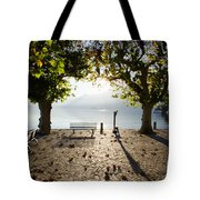 Bench And Trees On The Lake Front Tote Bag