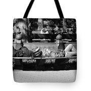Bench Bums In Black And White Tote Bag