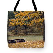 Bench In The Autumn Landscape Tote Bag