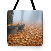 Bench In The Fog Tote Bag