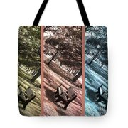 Bench In The Park Triptych  Tote Bag by Susanne Van Hulst